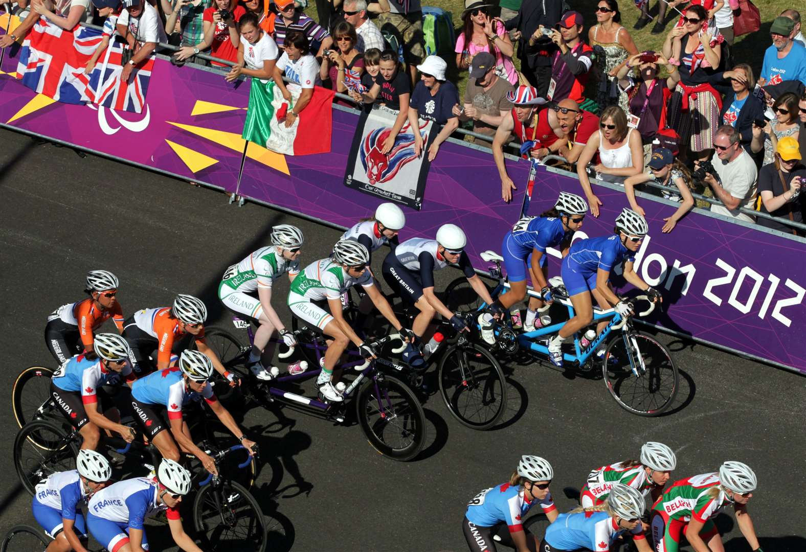 Competitors set out on the Women's Individual B Road Race at Brands Hatch during the Paralympics in 2012. Picture: Gareth Fuller/PA Wire