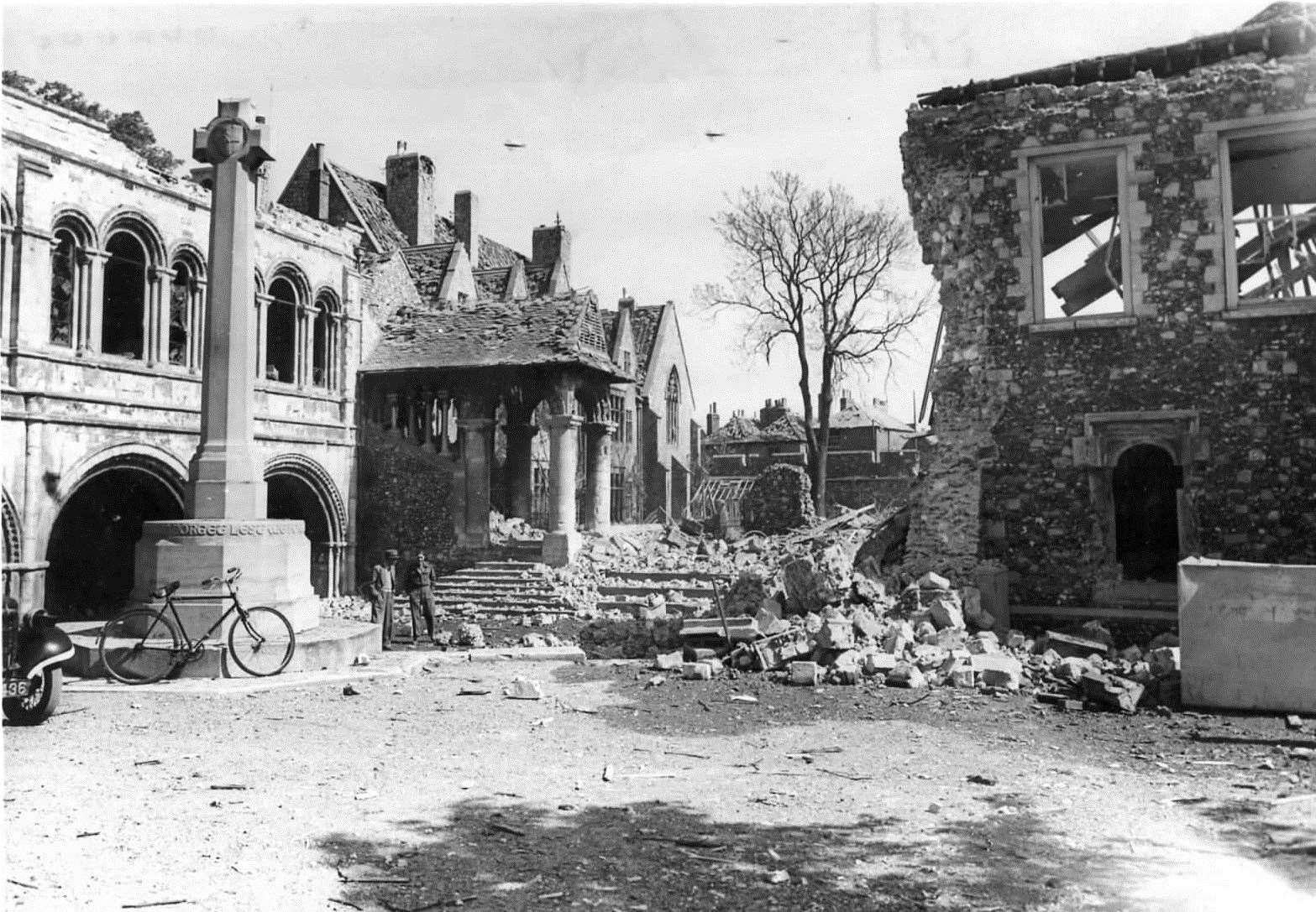 King's School in Canterbury was damaged in German air raids but the Norman staircase, although battered, survived