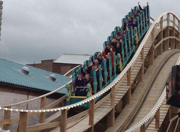 Schoolchildren try out the Scenic Railway rollercoaster