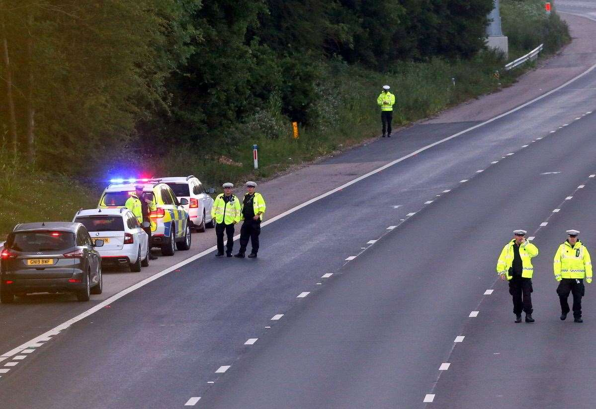 Police at the scene on the M20 earlier this month. Picture: UKNiP