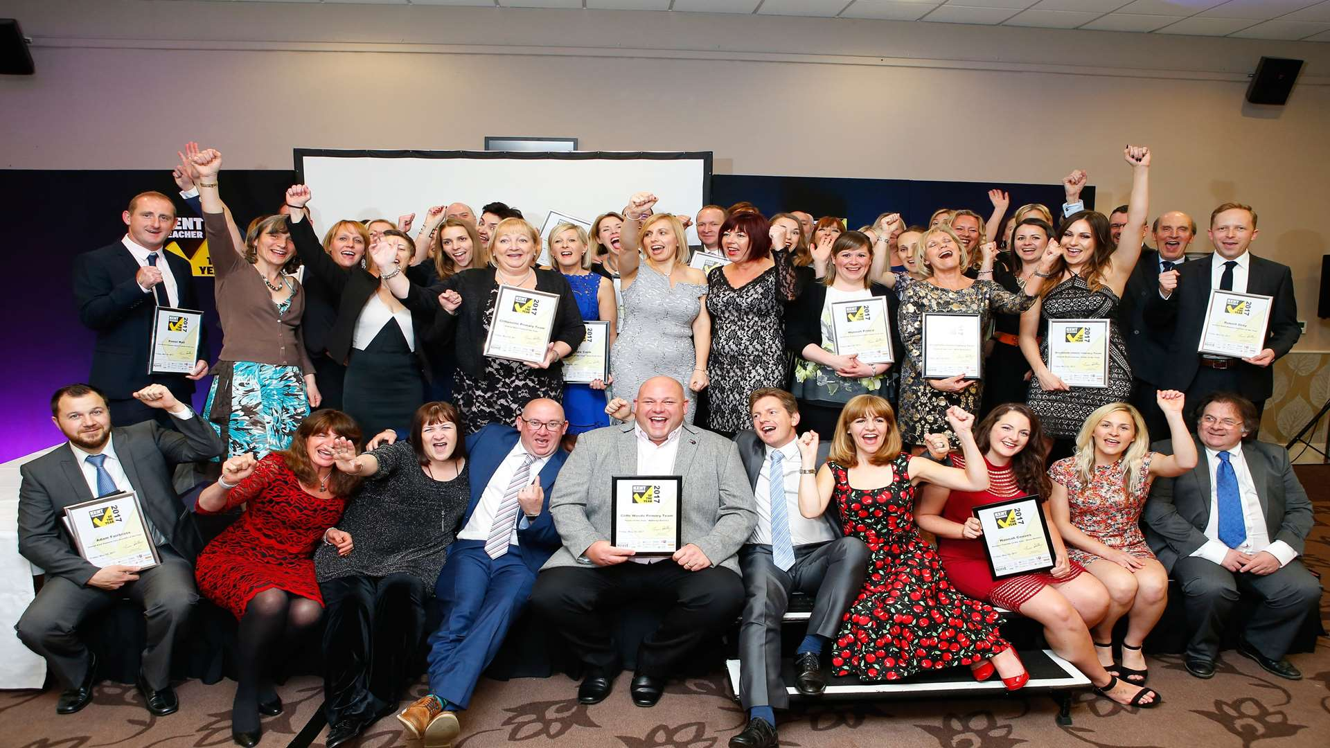 All winners and key partners of the Kent Teacher of the Year Awards 2017 at Mercure Great Danes Hotel, Ashford.