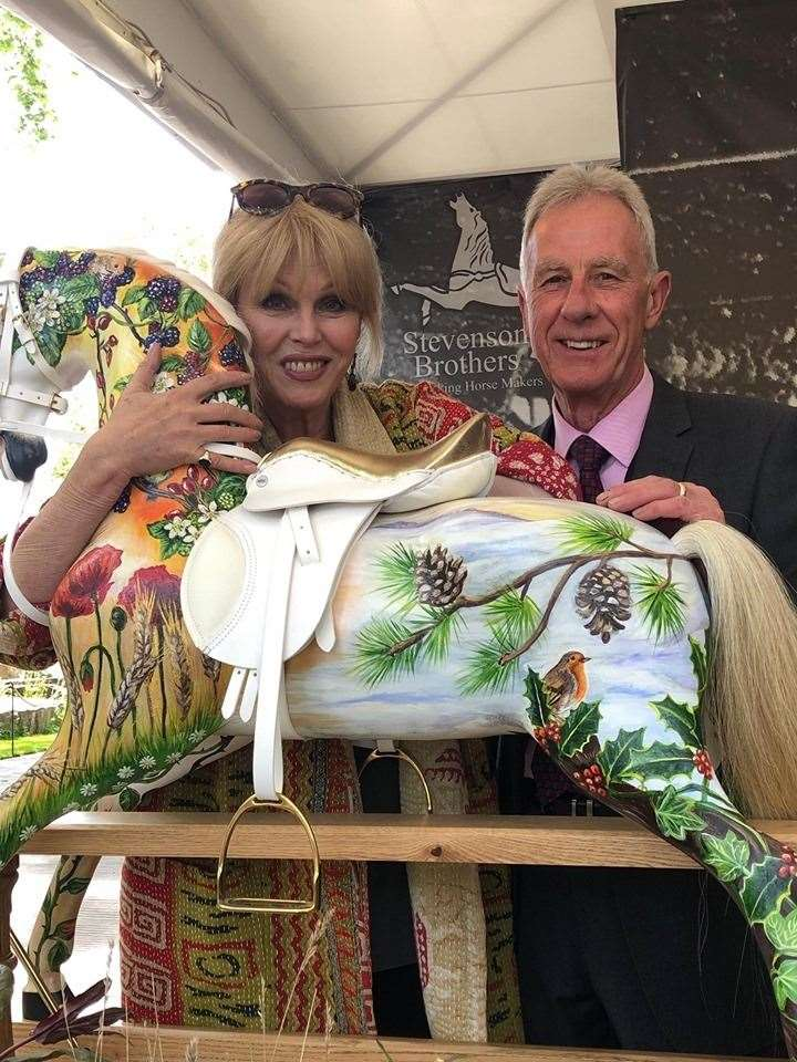 Joanna Lumley with Keith Kimber of Stevenson Brothers at the Chelsea Flower Show