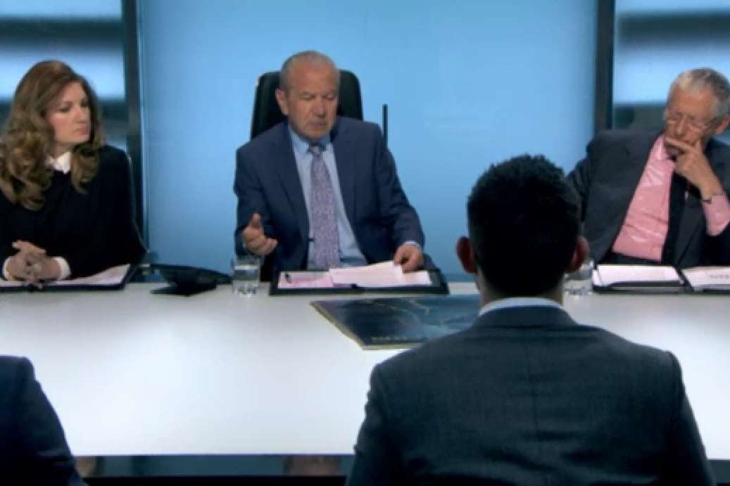 Lord Sugar is not impressed as the 'skeleton' is revealed