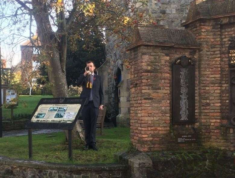 On the final stroke of eleven a bugler played The Last Post in Sandwich