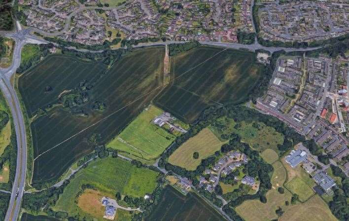 The location of a proposed housing scheme, with the A20 to the north and the A228 to the east. Picture: Google Earth