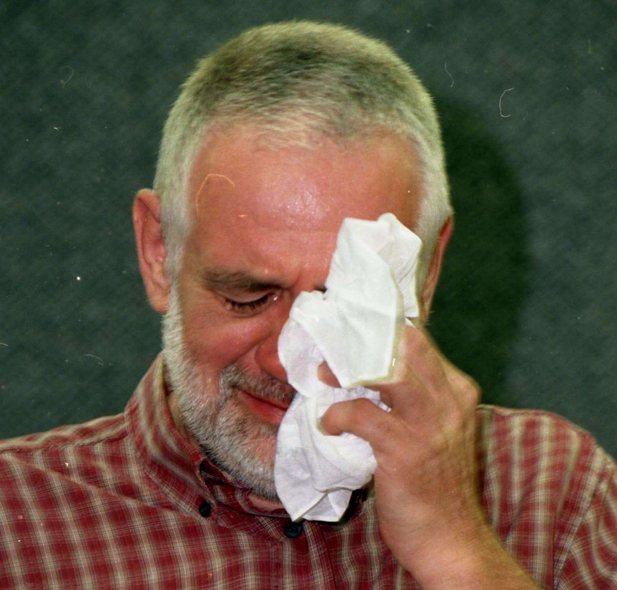 Peter Streader, the father of Claire Streader, fight back tears during a police appeal for information