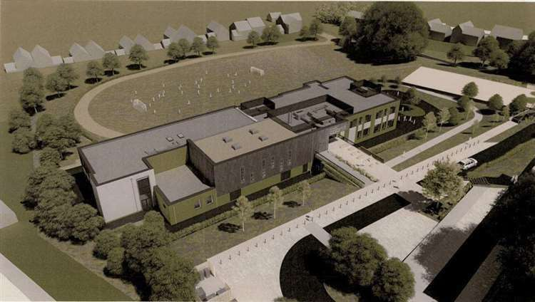 An artist's impression of the new school St Peter's School under construction at Hawkenbury