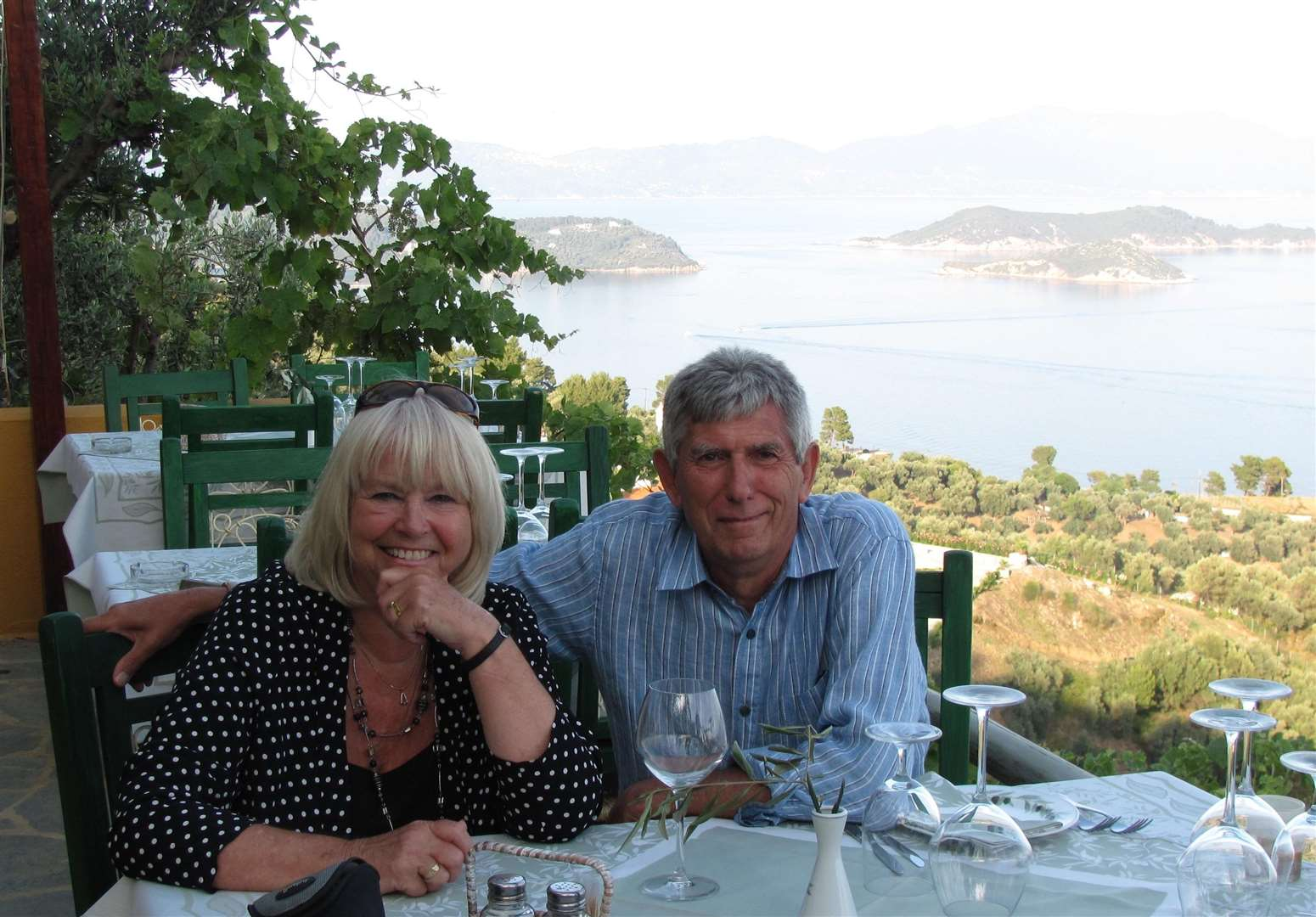 Paulene and Ron Green on holiday in Skiathos
