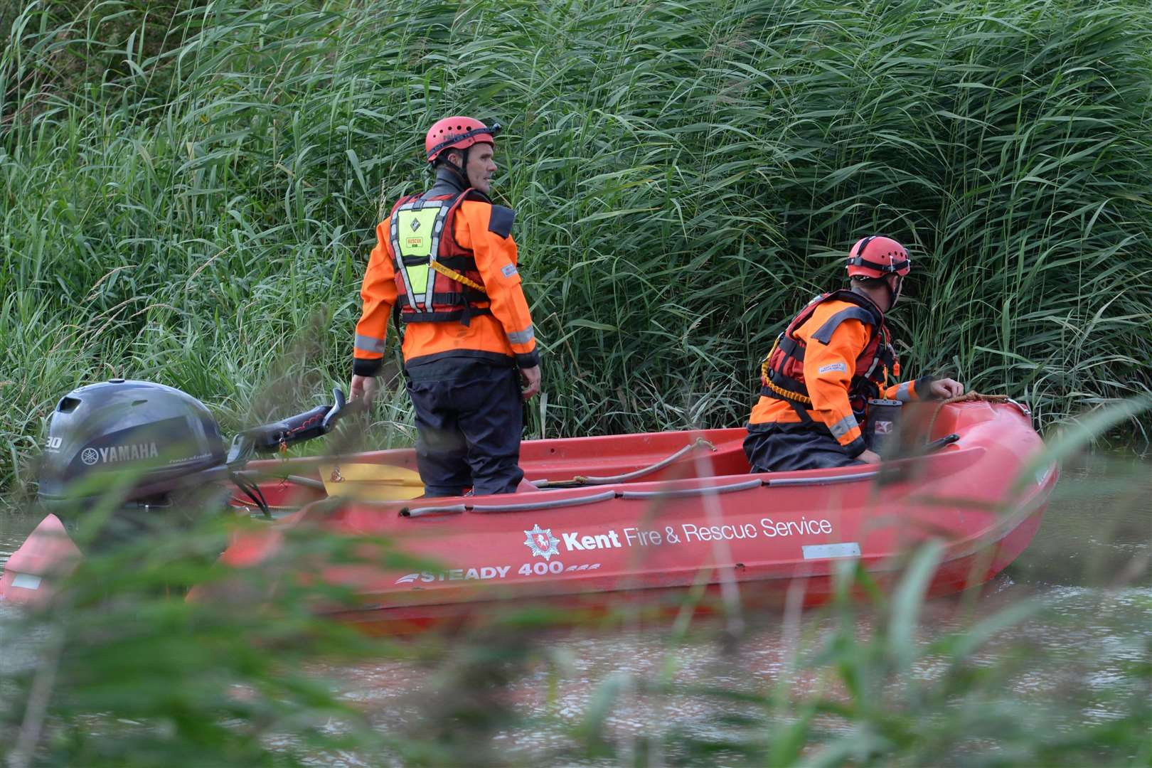 A Kent Fire and Rescue RIB as the search continued on the river