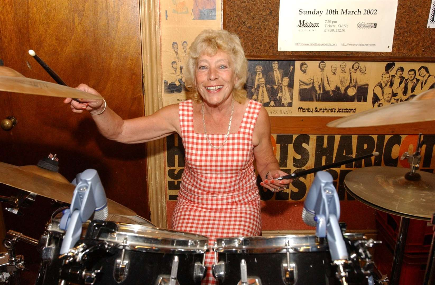 Jackie Bowles celebrating 40 years at the Louis Armstrong in 2002. Picture: Mike Waterman