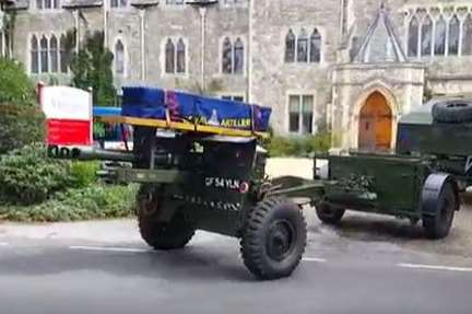 Albert Figg's coffin arrives at St Edmund's School chapel on the back of a gun carrier
