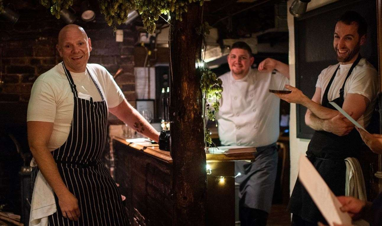 Rob Taylor of the Compasses Inn (centre) with Tom Kerridge (left) Picture: David Pearce