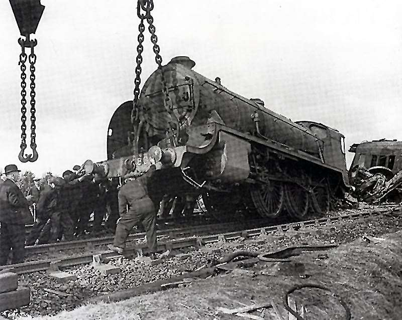 The damaged engine, Sir Galleron after the Oak Lane train crash August 16th 1944. A doodlebug landed close to the track, eight people were killed.
