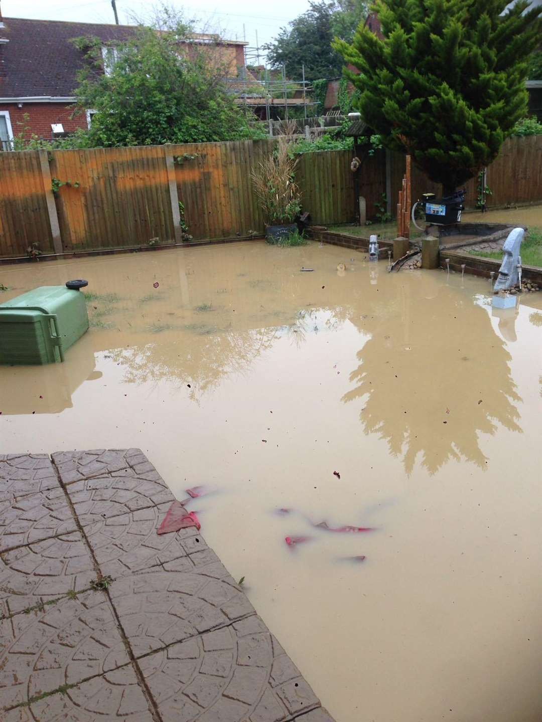 Sean Maxwell's garden in Sheerstone, Iwade, was flooded when a stream burst its banks