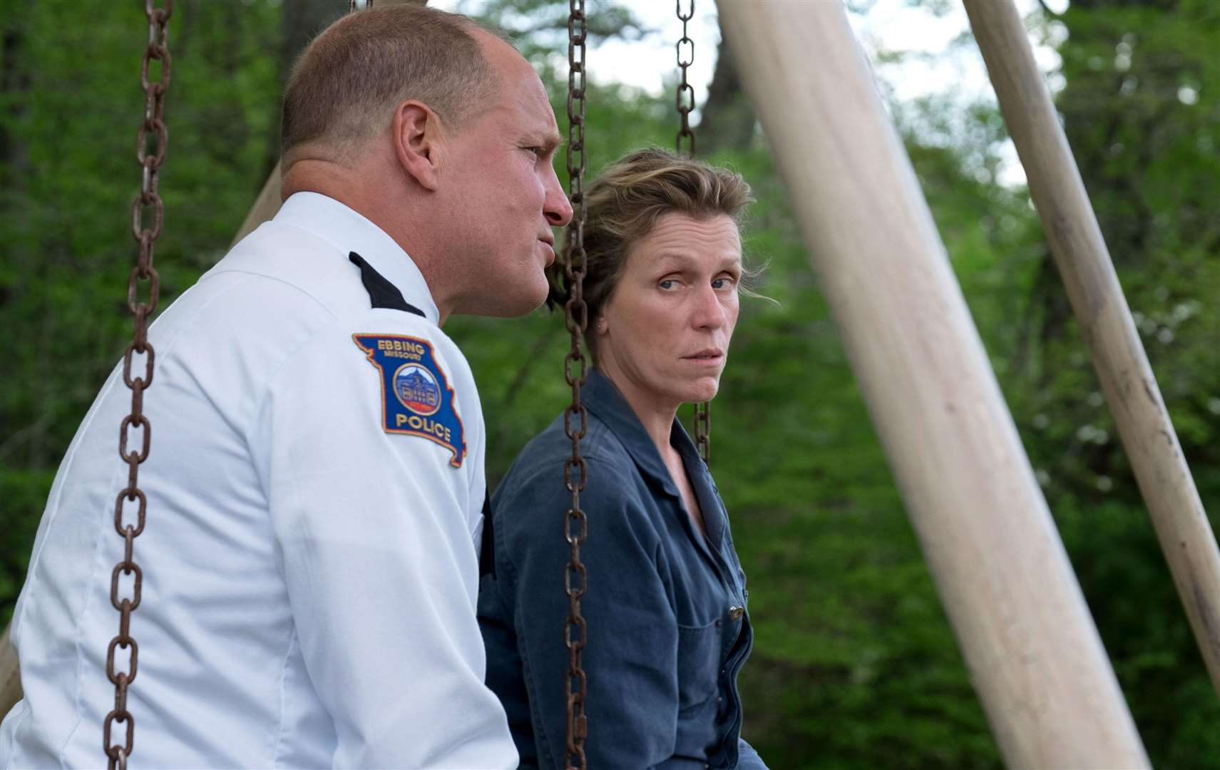 Three Billboards Outside Ebbing, Missouri. Pictured: Woody Harrelson as Sheriff Bill Willoughby and Frances McDormand as Mildred Hayes. Picture: PA Photo/Twentieth Century Fox Film Corporation/Merrick Morton