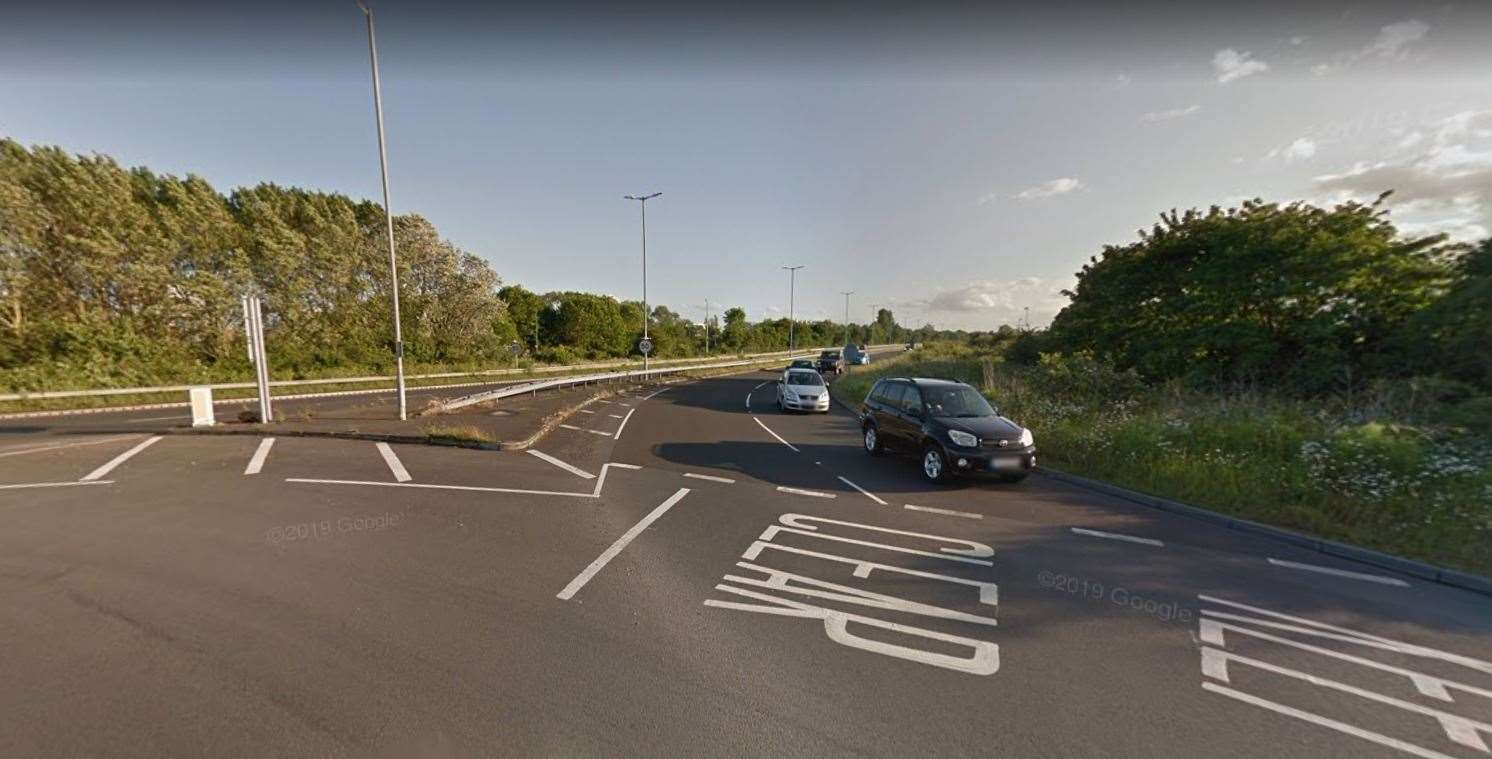 The A256 Sandwich Bypass between Monk's Way and Ramsgate Road has been closed. Picture: Google