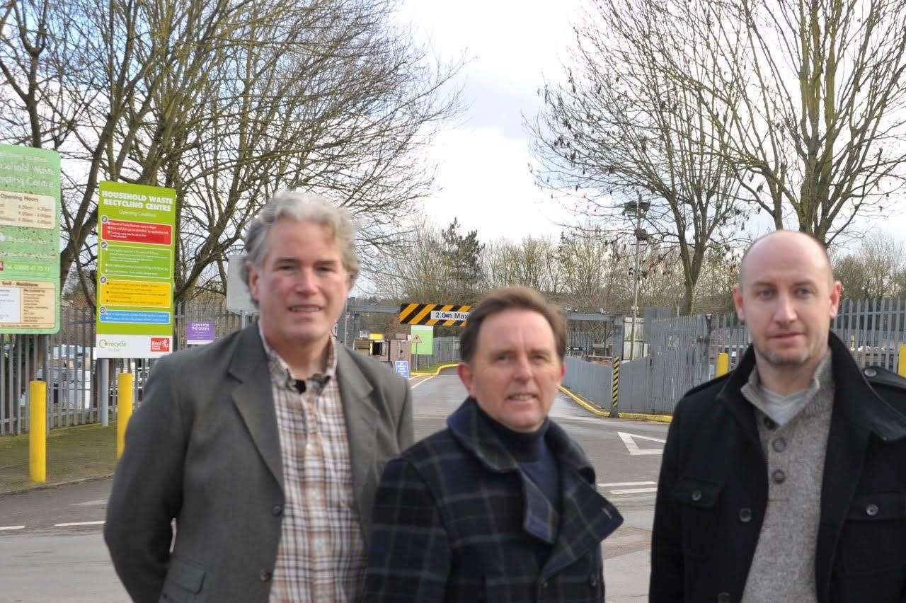The news has been welcomed by South Ward councillors Brian Clark, Derek Mortimer and Paul Wilby, seen here if front of Tovil tip