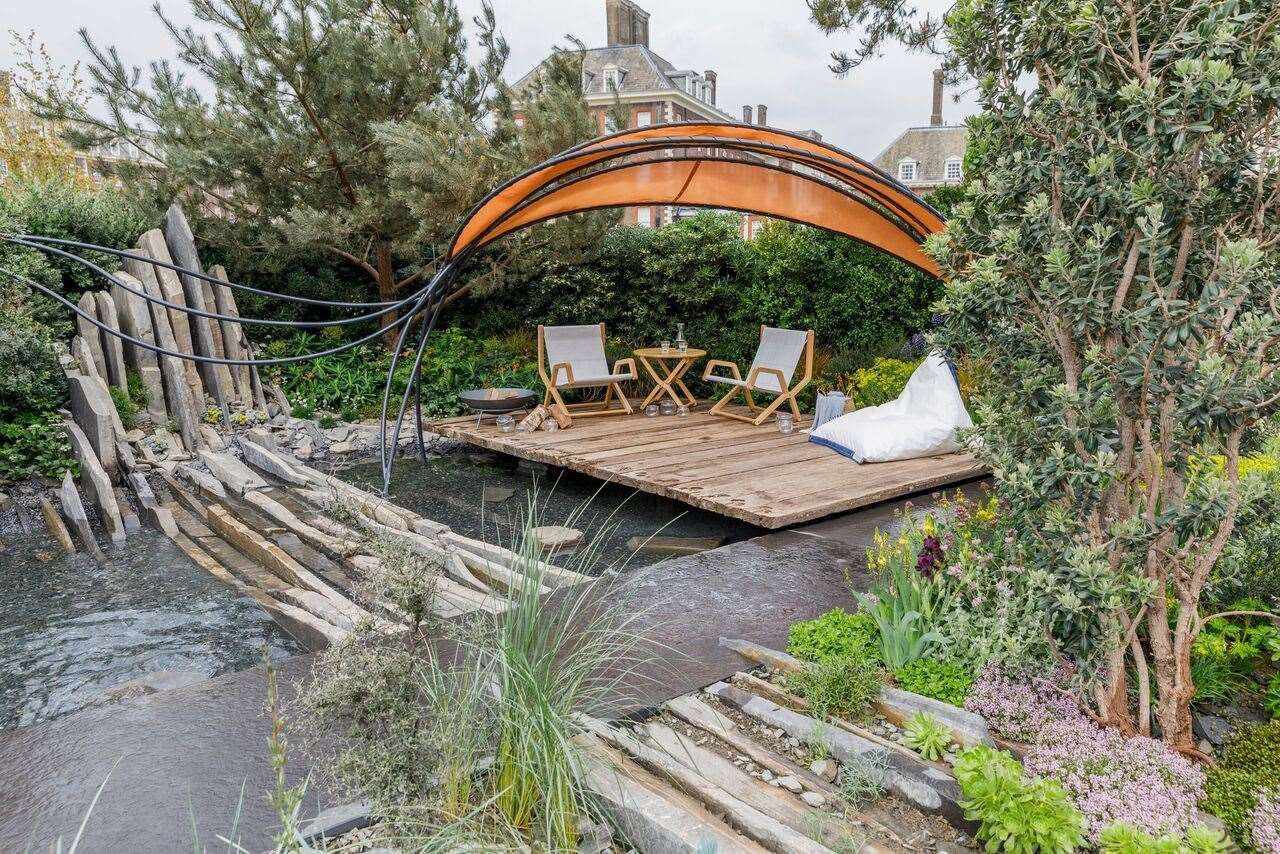 Reclaimed timber from Whitstable Yacht Club slipway creates a sustainable deck in the winning garden. Pic: Attract & Engage (11638934)