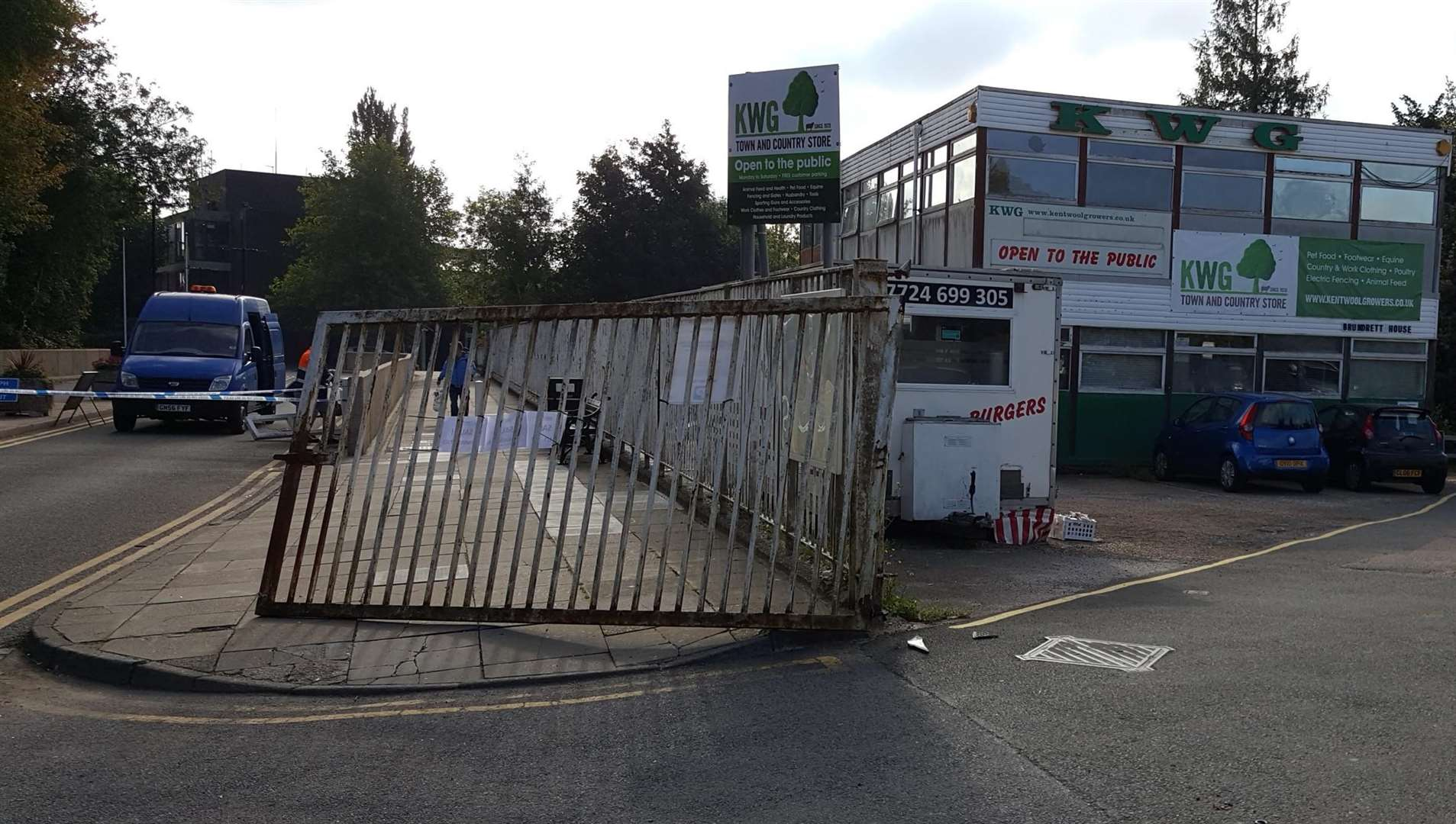The lorry smashed through gates at Kent Wool Growers
