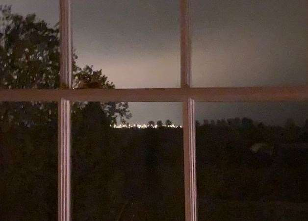 Frustrated resident Anita Adams took this photo just before 11pm from her home on the outskirts of Mersham