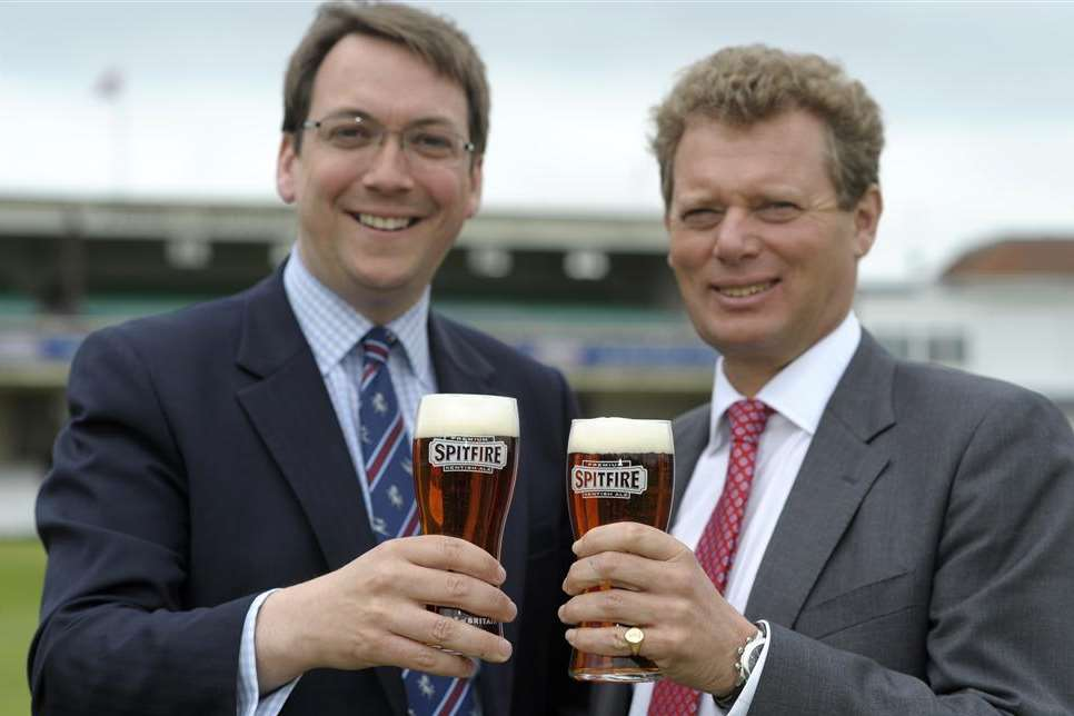 Kent chief executive Jamie Clifford and Shepherd Neame chief executive Jonathan Neame celebrate the new deal for naming rights of the St Lawrence Ground Picture: Barry Goodwin