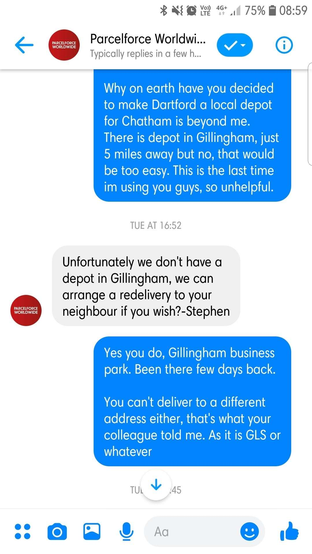 Parcelforce staff said they didn't have a depot in Gillingham