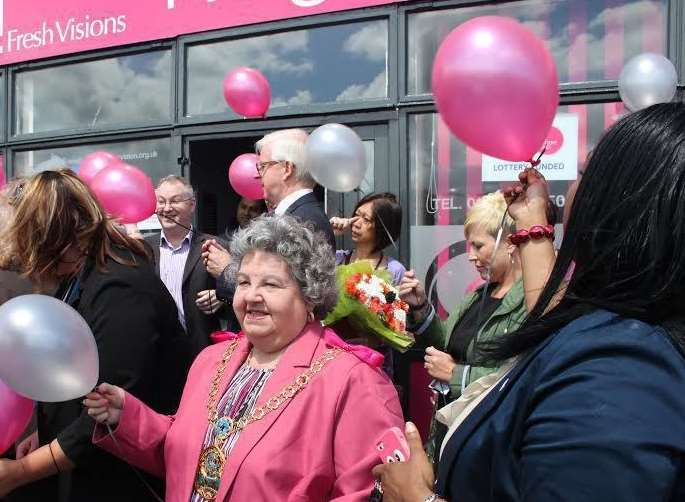 Former Mayor of Swale, Cllr Anita Walker, released balloons to mark the Neighbourhood Furniture Store's 10th anniversary in Sittingbourne