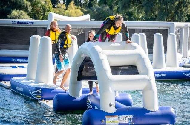 The aqua park at St Andrews Lakes in Halling, near Rochester is due to open on May 29. Picture: Aquaglide Aquaparks
