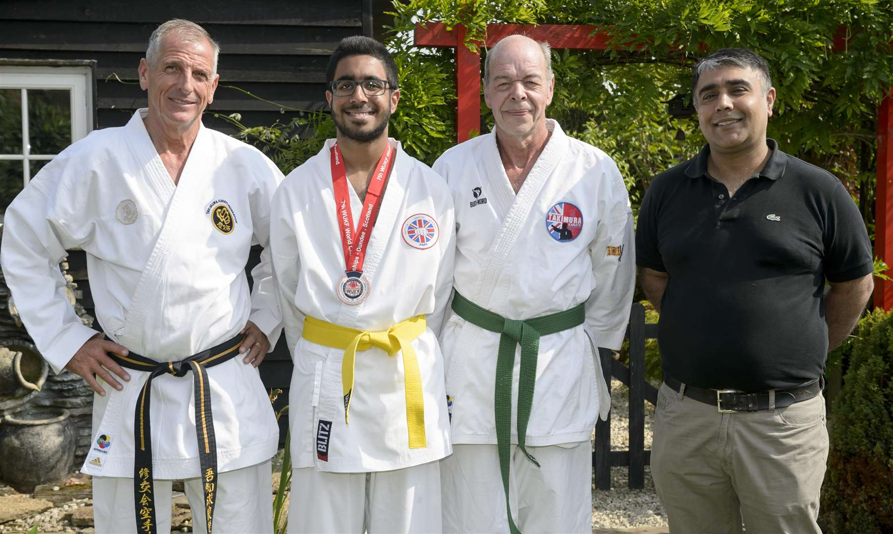 From left, Archie Grassom, Ishar Sandhu, Barry Rose and Ishar's dad, Bal Picture: Andy Payton