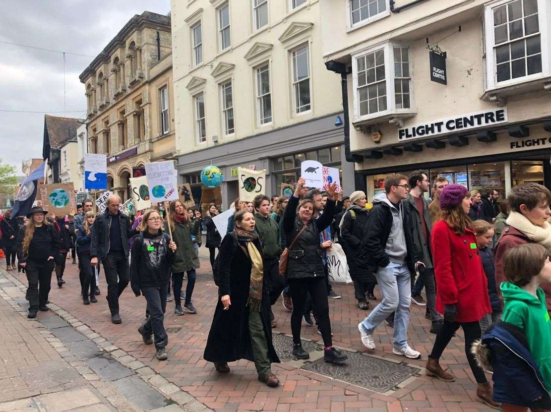 People marched against climate change. Picture: Clare Connerton (8507621)