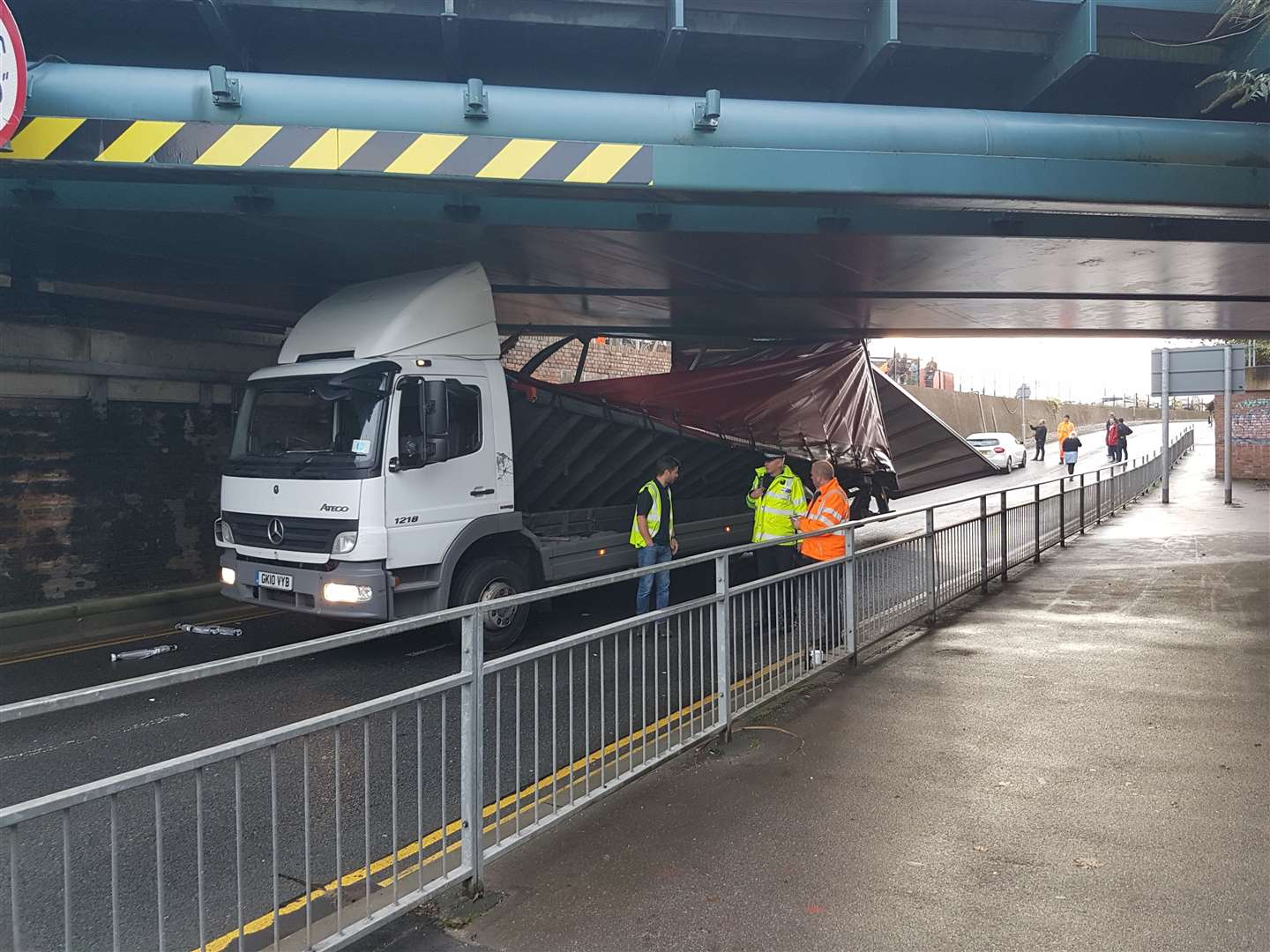 The top of the lorry has collapsed after it hit Newtown Road bridge (18826501)