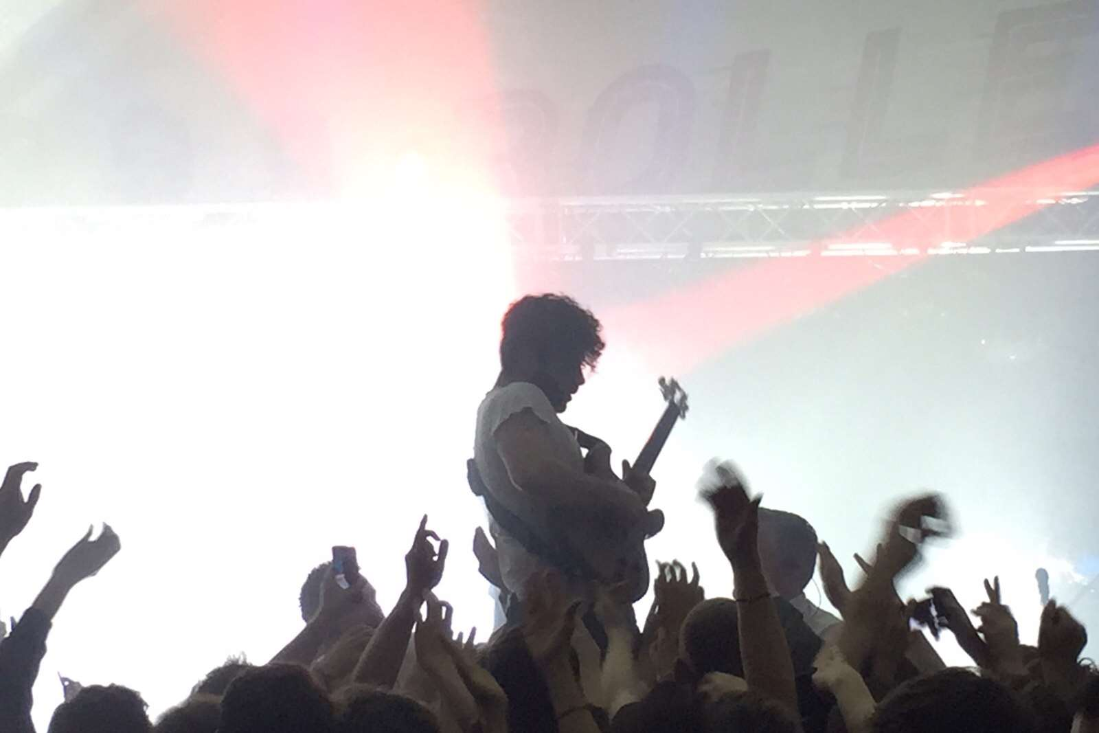 Foals frontman Yannis Philippakis had the crowd eating out the palm of his hand. Picture: Nick Chipperfield