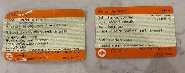 The price of Kirsty's train tickets has changed