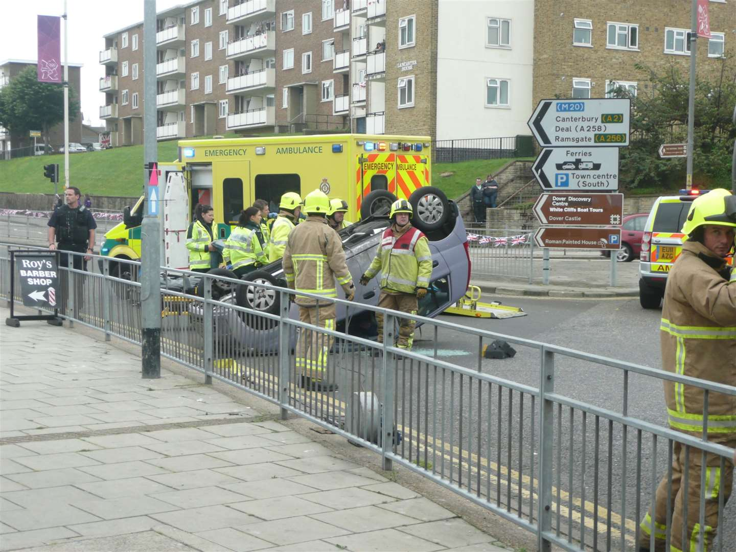 The scene of a crash at York Street, Dover, when a car overturned just a couple of hours before the torchbearer was due. Pic: Graham Tutthill