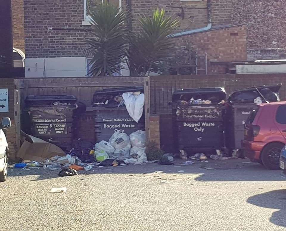 Seagulls are tearing into the overflowing rubbish causing it to spill all over Archway Road in Ramsgate
