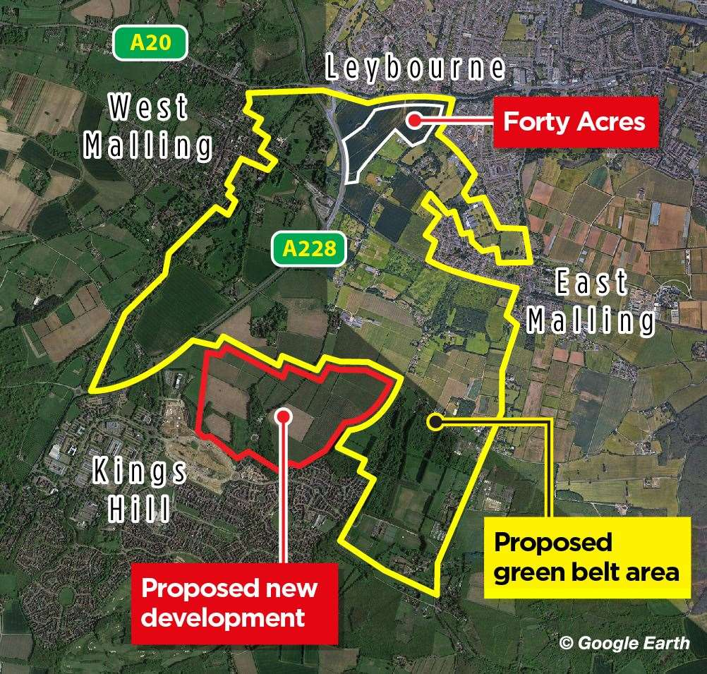 This map shows the hoped-for extension of the green belt between East Malling and surrounding towns and villages