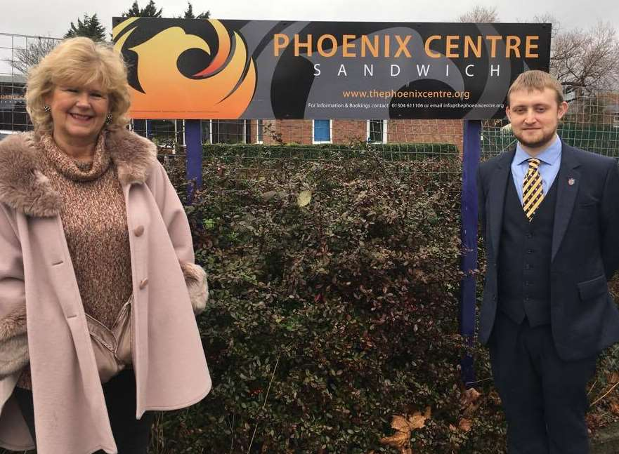 Tracy Carr and Cllr Dan Friend outside the Phoenix Centre in Sandwich where the new group will meet