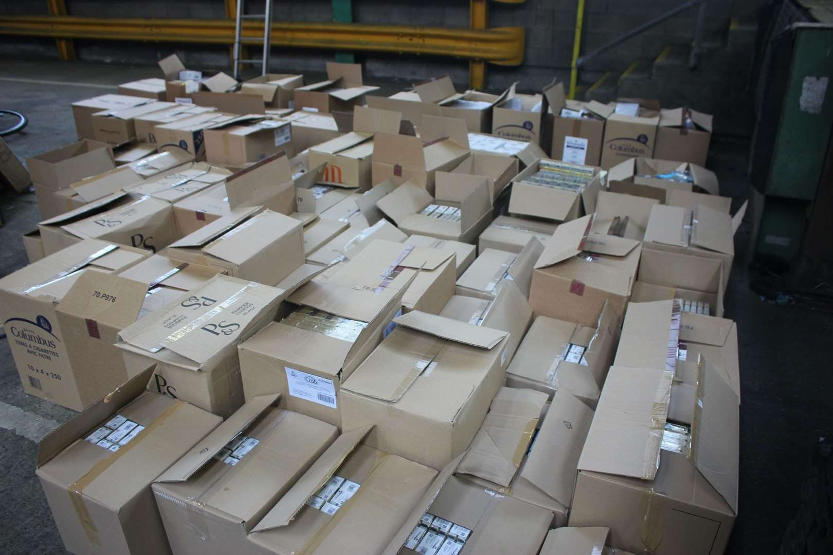 The mass of tobacco Nemeth brought in. All of these boxes contained packets and pouches. Picture: HMRC