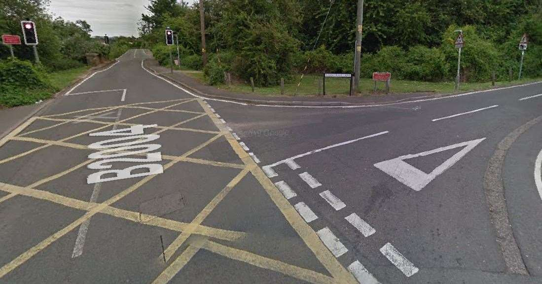 A police van was seen blocking the junction for Berengrave Lane in Rainham. Picture: Google