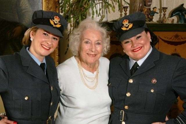 Dame Vera Lynn will forever be associated with the cliffs. Pictured here with Swingtime Sweethearts