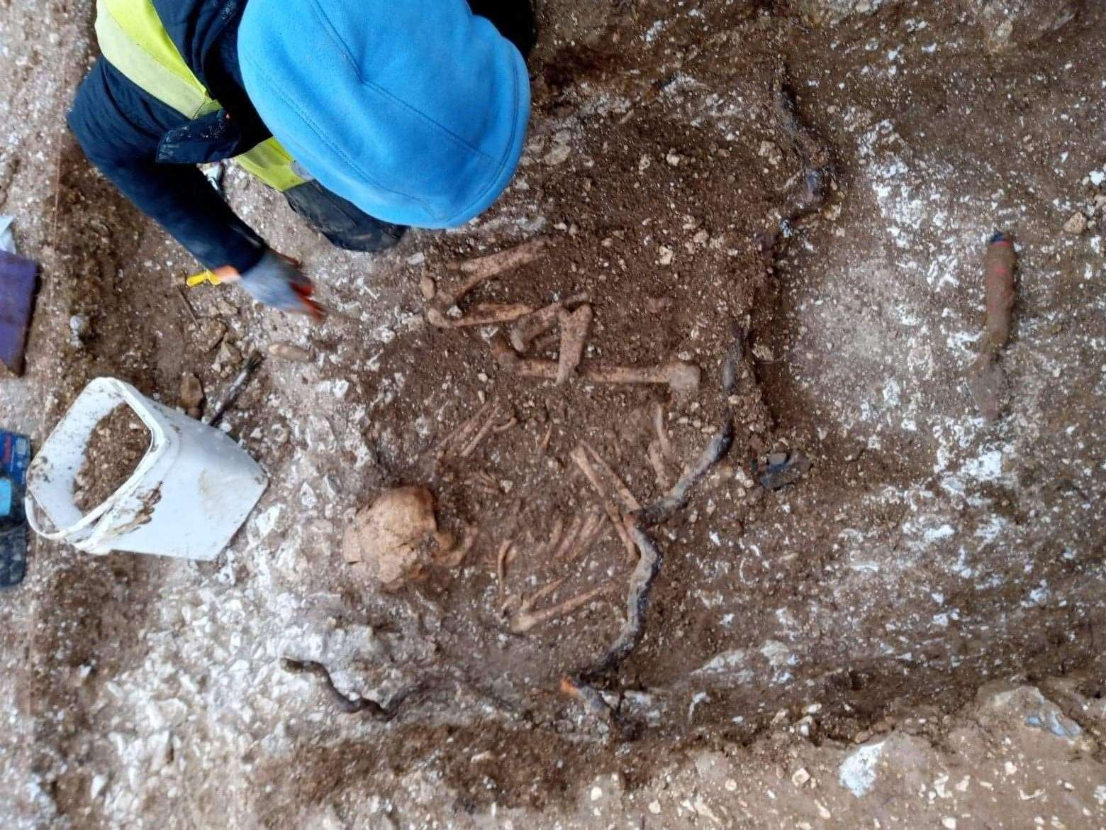 One of the skeletons found at Aylesham (29011957)
