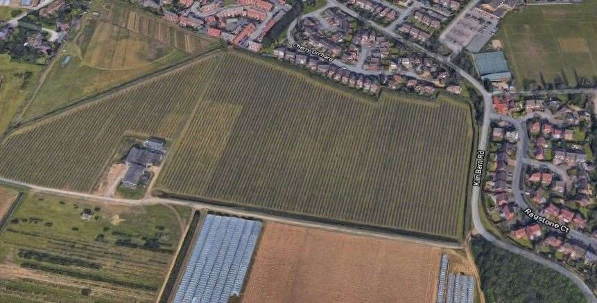 The proposed development site for up to 300 new homes in the countryside south of Ditton. Picture: Google Earth