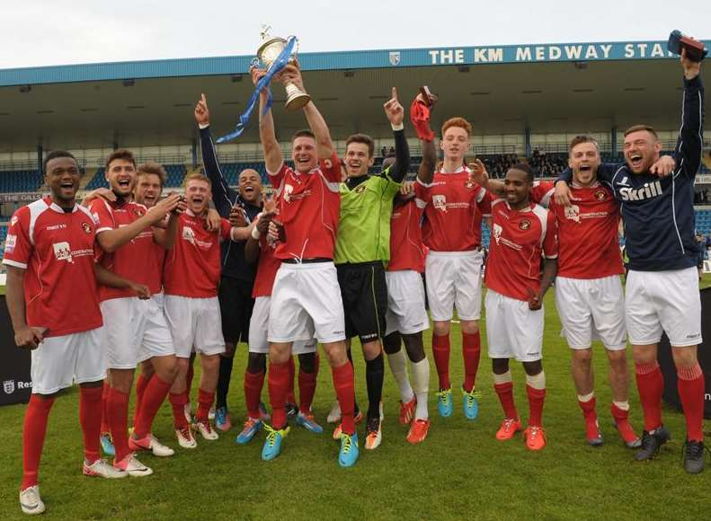 Ebbsfleet United lift the Kent Senior Cup at Priestfield Picture: Steve Crispe