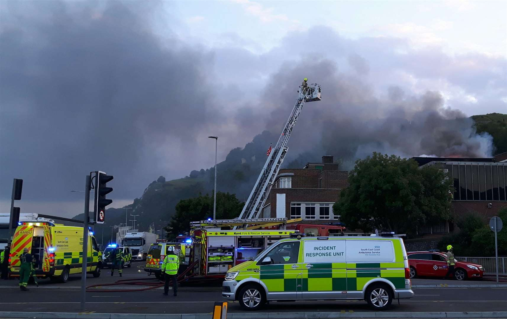 Efforts continued to put out the nightclub building fire. Picture: Sam Lennon