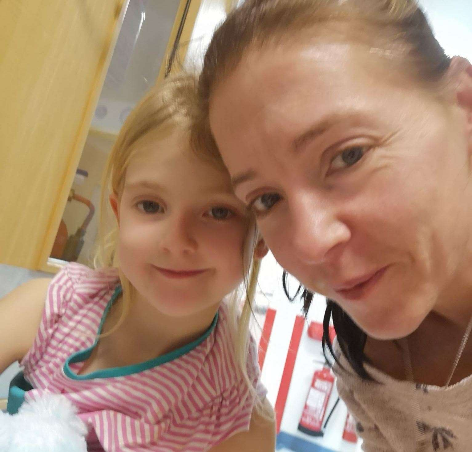 Lily in hospital with her mother Sian Williams