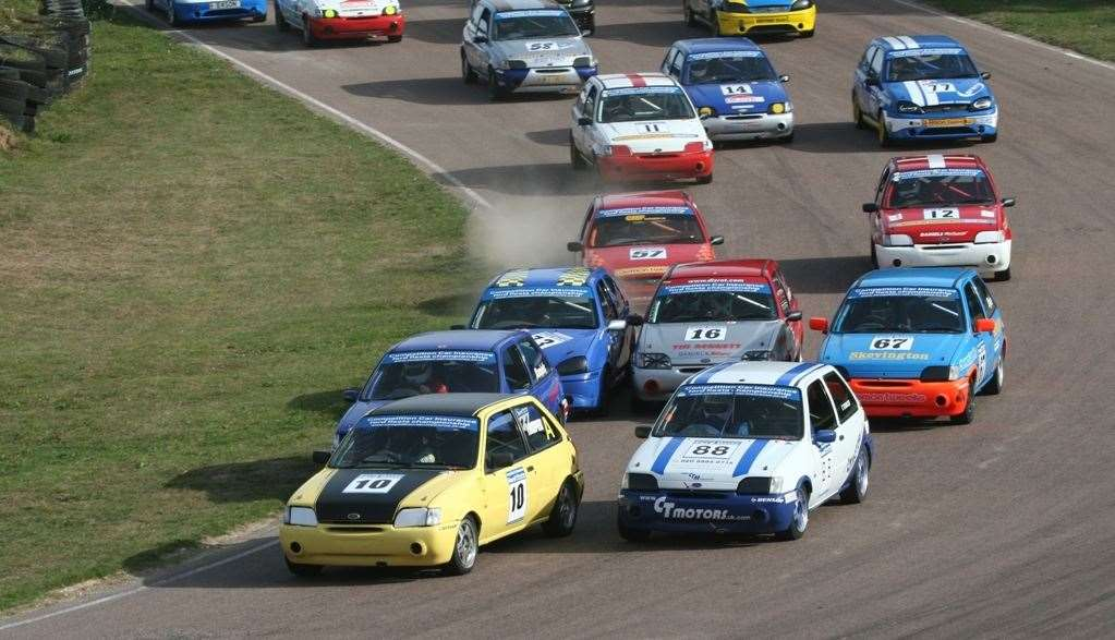 Lydden isn't just about rallycross - here a huge pack of Ford Fiestas makes its way around Chesson's Drift in October 2009. Picture: Kerry Dunlop
