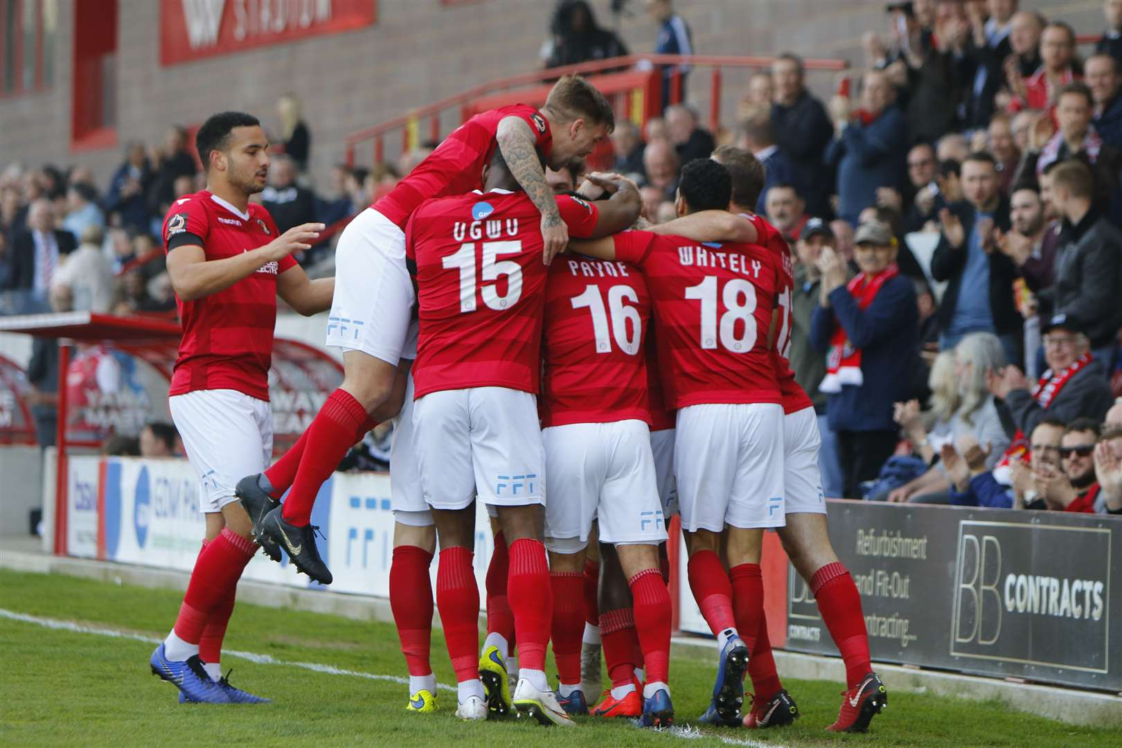 Ebbsfleet celebrate taking the lead against Wrexham Picture: Andy Jones