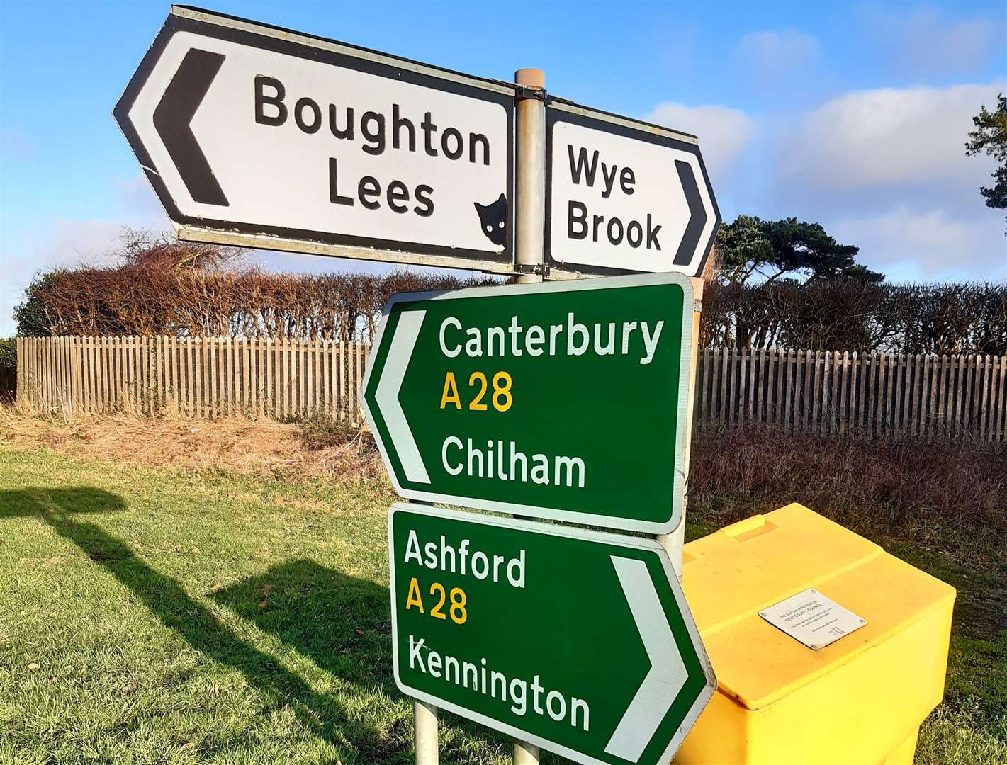 Another cat was spotted on a sign at the junction between the A28 and Harville Road just outside Wye (28343666)