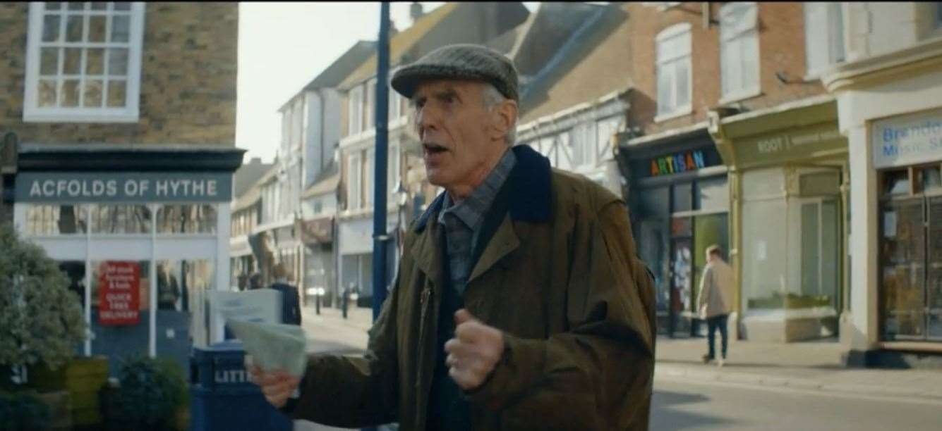 Miri's father, with the Hythe stores in the background.  Photo: BBC iPlayer