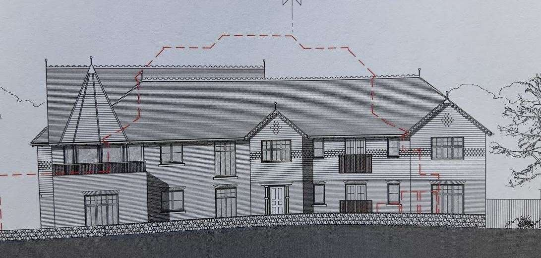 A drawing of how the six flats would look from the north side when walking towards Kingsdown (8673366)